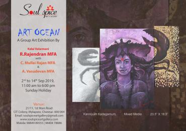 Art ocean a group exhibition by R Rajendran, C Mullai rajan a vasudevan at soul space art gallery Of Dessin Academy March 2021