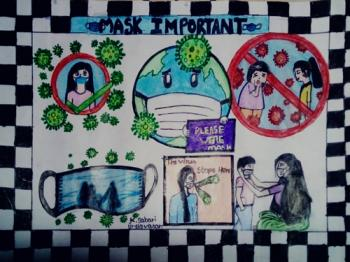 Painting of Sabari, Group A - 1st - 3rd std. and lt;br and gt;Topic - Topic - Mask importance (முககவசம் முக்கியத்துவம்)