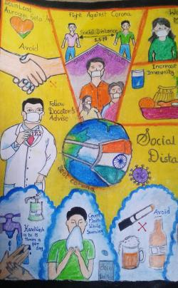 Painting of K.Sri Hasini Nachiyar, Group B - 4th - 6th std. and lt;br and gt;Topic - Social distance (சமூக இடைவெளி)