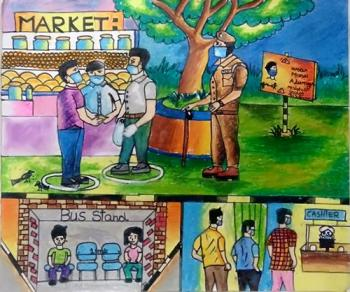 Painting of Ja.Aswaa, Group B - 4th - 6th std. and lt;br and gt;Topic - Social distance (சமூக இடைவெளி)