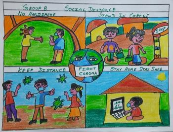 Painting of V. Sahaana, Group B - 4th - 6th std. and lt;br and gt;Topic - Social distance (சமூக இடைவெளி)