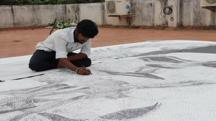 Worlds Largest Stippling Portrait by Dessin Academy student R. Sudharshan
