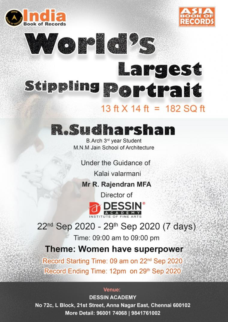 Worlds Largest Stippling Portrait ASIA Book of Records and India Book of Records