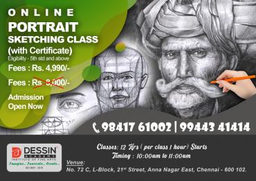Summer Camp Online Portrait Sketching Classes, Portrait Drawing Classes in chennai, Portrait Painting classes with Course completion Certificate)